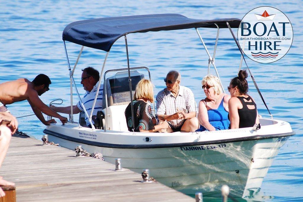 Our Family boat ready on the platform to go for a trip arround skiathos beaches