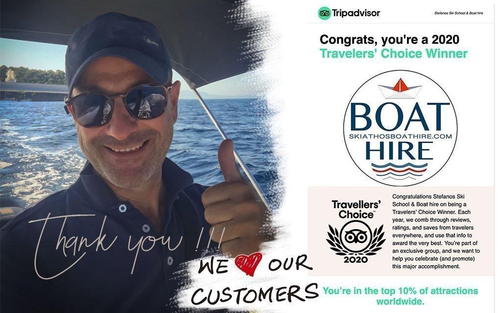 Trip Advisor Award for Skiathos Boat Hire